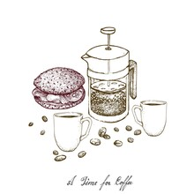 Time For Coffee, Illustration Hand Drawn Sketch Of Whole Grain Bread Sandwich With French Press Pot Or Cafetiere A Piston, A French Traditional Coffee Maker.