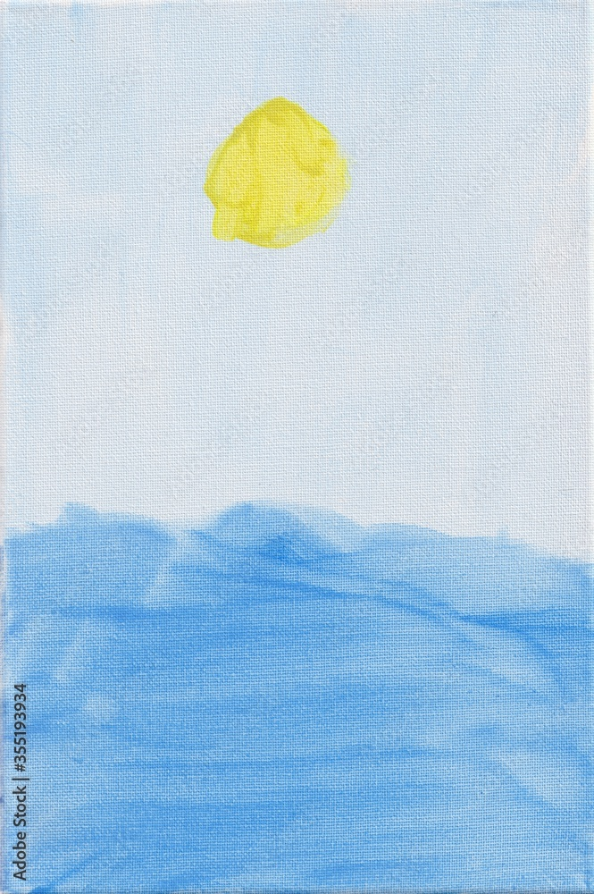Fototapeta Sea and sun painting. Kids drawing on canvas. Naive acrylic painting on canvas. Light blue sky, yellow sun and blue sea waves painted by a child. Simple artwork of summer seascape.