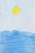 Sea and sun painting. Kids drawing on canvas. Naive acrylic painting on canvas. Light blue sky, yellow sun and blue sea waves painted by a child. Simple artwork of summer seascape.