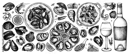 Obraz na płótnie Seafood and wine illustrations collection in color