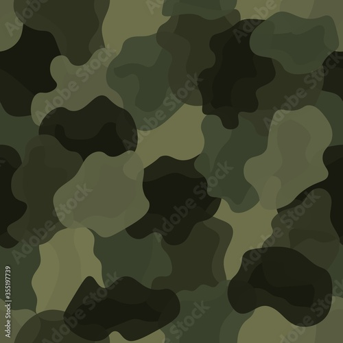 Cuadros en Lienzo Olive color style abstract geometric fashion camouflage seamless pattern