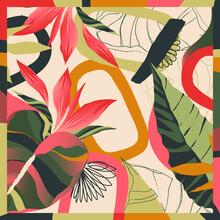Silk Scarf Design. Creative Contemporary Collage . Fashionable Template For Design.