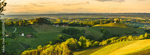 Fototapeta Sunset over South Styria vineyard landscape in Steiermark, Austria. obraz