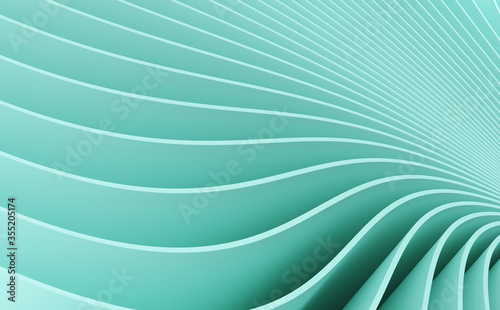 Mint turquoise background with abstract spiral geometry. Wallpaper Mural