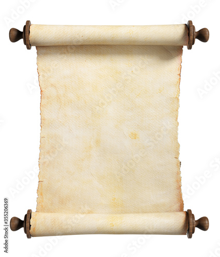 Vertical scroll or parchment with wooden handles. Isolated, clipping path included. © simone_n