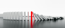 Domino Effect In Action Is Stopped (3d Rendering)