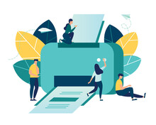 Vector Illustration, A Flat Design On A White Background, Multifunction Printer Scanner, Printing, People Print Documents