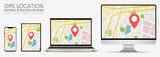Multiple devices with map plan of city on screen – Gps location Set – mobile, laptop, monitor, tablet – isolated and editable vector illustration