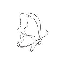 Single Continuous Line Drawing Of Luxury Butterfly For Corporation Logo Identity. Beauty Salon And Healthcare Company Icon Concept From Animal Shape. One Line Draw Vector Graphic Design Illustration