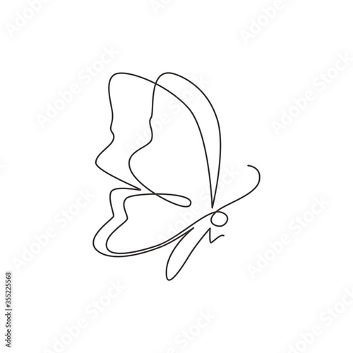 Photo Single continuous line drawing of luxury butterfly for corporation logo identity