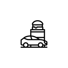 Drive Through Vector Icon In Linear, Outline Icon Isolated On White Background