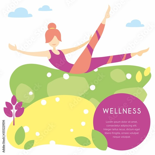 Fototapeta Woman is engaged in Pilates exercises, leaves and clouds around.
