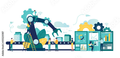 Fototapeta Vector illustration, a production line with workers, automation and user interface concept: user connecting with a tablet and sharing data with a cyber-physical system, Smart industry 4.0 obraz
