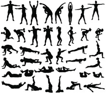 Big Set Of Vector Silhouettes Of Man And Woman Doing Fitness, Sport And Yoga Workout Isolated On White Background.  Icons Of Sportive Boy And Girl Practicing Exercises In Different Positions.