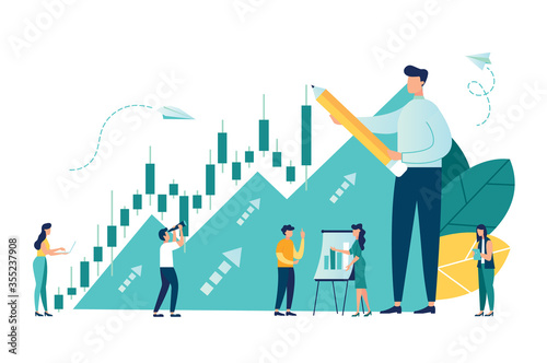 Foto Vector illustration, Candlestick chart of the stock market, move up motivation,