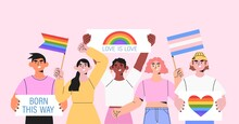Diverse People Hold Signs, Banner And Placards With Lgbt Rainbow And Transgender Flag During Pride Month Or Parade Against Violence, Descrimination, Human Rights Violation. Equality And Homosexuality.