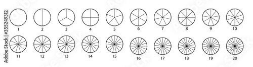 Photo Segmented circles set isolated on a white background
