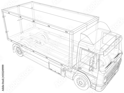 Obraz Vector Wire-frame isolated Commercial van truck on background. Vector rendering of 3d. - fototapety do salonu