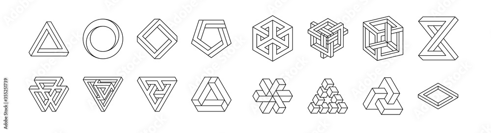 Fototapeta Set of impossible shapes. Optical Illusion. Vector Illustration isolated on white. Sacred geometry. Black lines on a white background.