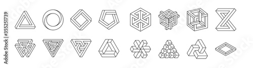 Fototapeta Set of impossible shapes. Optical Illusion. Vector Illustration isolated on white. Sacred geometry. Black lines on a white background. obraz