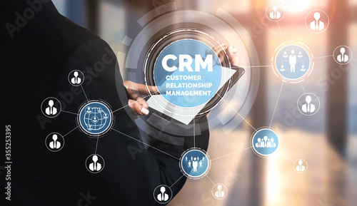 CRM Customer Relationship Management for business sales marketing system concept presented in futuristic graphic interface of service application to support CRM database analysis Canvas Print