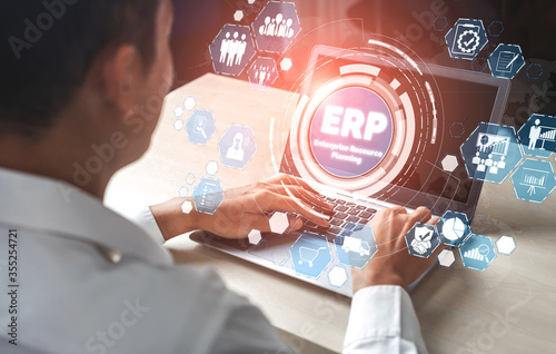 Leinwand Poster Enterprise Resource Management ERP software system for business resources plan presented in modern graphic interface showing future technology to manage company enterprise resource