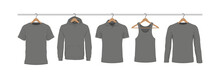 T-shirts On Hanger. Flat Style...
