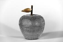 Rhinestone-studded Apple Decoration With Gold Stem And Leaf. High Key Composition. Modern, Elegant Home Decor.