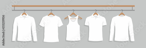Fotomural T-shirts on hanger. flat style. isolated on Gray background