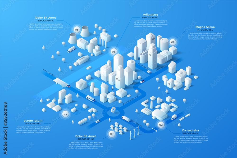Fototapeta Vector isometric white city template