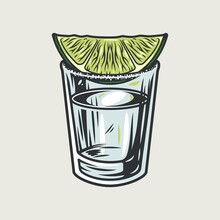 Tequila Cocktail Shot With Lime And Salt