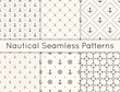 Set of 6 vector seamless geometric pattern with anchors, steering wheel and polka dot. Nautical background in minimalistic style. Vintage maritime backdrop for texture, paper, card, textile.