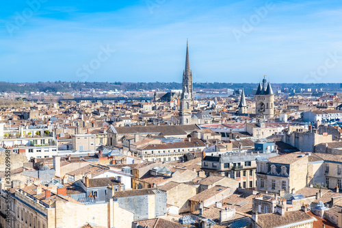 Bordeaux in France, aerial view of the Saint-Michel basilica and the Grosse Cloc Canvas Print