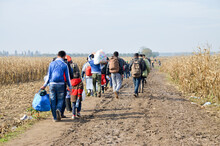 Refugees And Migrants Walking ...