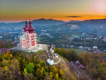 Sun Set In Old Town With Historical Cityspace Buildings In Banska Stiavnica, Slovakia, UNESCO, Aerial Photo Of Calvary