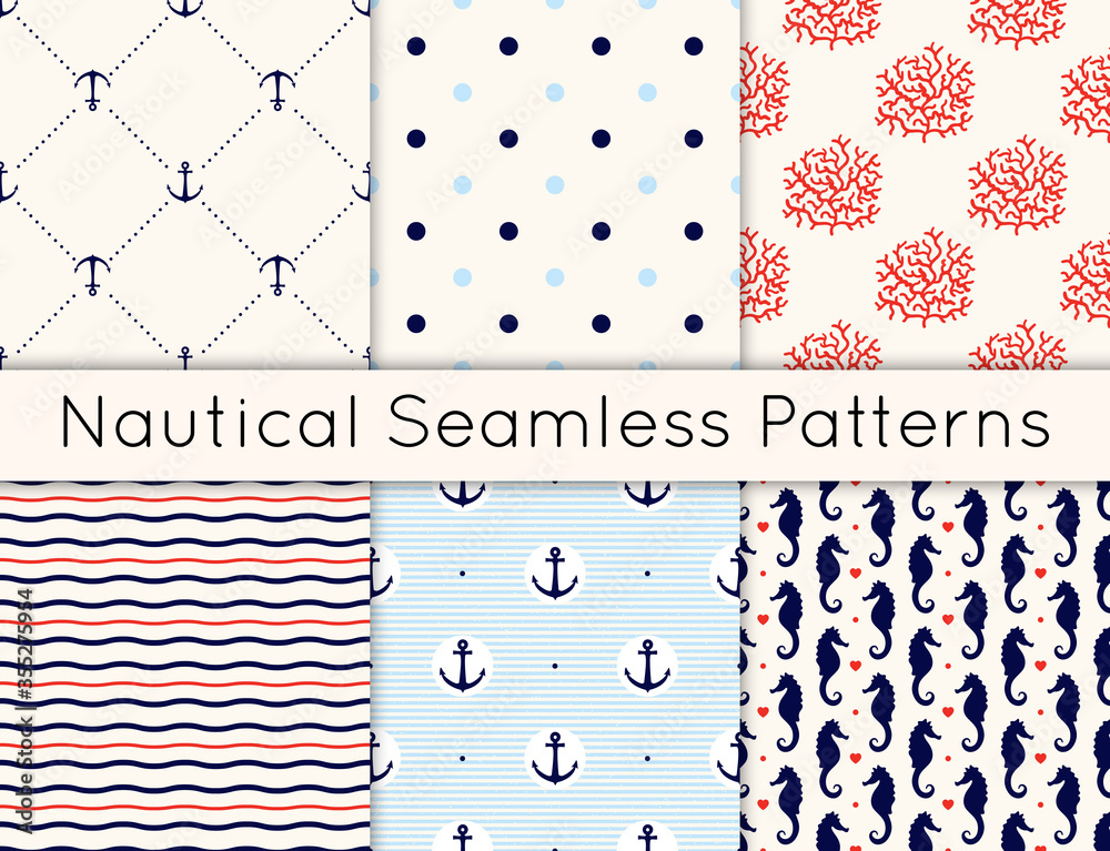 Fototapeta Set of 6 vector seamless nautical patterns with anchors, sea horses, corals, hearts, wavy lines and polka dot. Vintage maritime collection of backgrounds in minimalistic style.