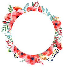 Watercolor Red Poppy Flower Clipart. Red Meadow  Sumemr Floral Clipart . Boho Wedding Invitation Bouquet DIY PNG