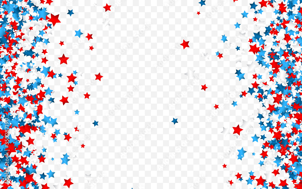 Fototapeta Celebration confetti in national colors of USA. Holiday confetti in US flag colors. 4th July independence day background