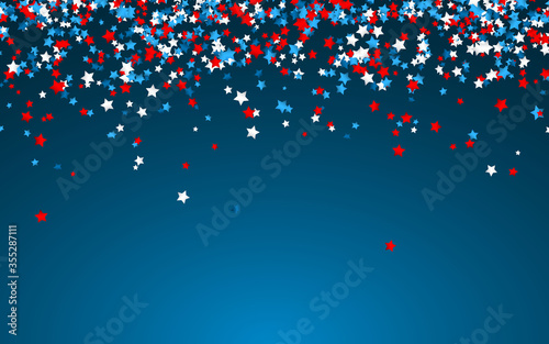 Fototapeta Celebration confetti in national colors of USA. Holiday confetti in US flag colors. 4th July independence day background obraz