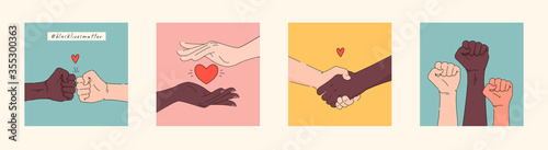 Fototapeta Black lives matter hand drawn poster, card collection. Hashtag blm stylised set. Black and white hands together concept. Campaign against racial discrimination of dark skin color. Vector Illustration. obraz