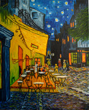 Painting oil on canvas. Free copy based on the famous painting by Vincent Van Gogh - Cafe Terrace on Forum Square, Arles, 1888