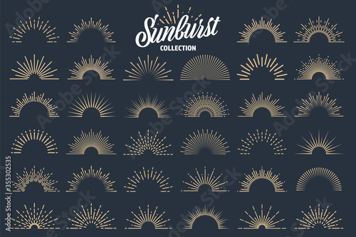 Fototapeta Vintage sunburst collection. Bursting sun rays. Fireworks. Logotype or lettering design element. Radial sunset beams. Vector illustration. obraz