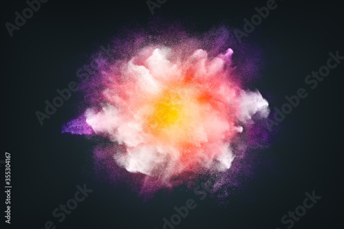 Fototapeta Abstract design of bright colored powder cloud on dark background obraz
