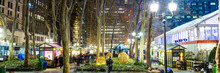 Panorama Of The Bryant Park Holiday Village In New York City During Christmas