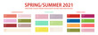 Pantone color palette 2021 spring, summer in HEX and RGB values. Set of year trend color for fashion, home, interiors design, vector illustration. Pantone color swatch trend spring, summer 2021 year.