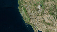 California, United States - Outlined. Satellite
