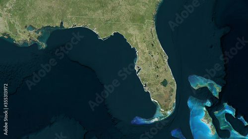 Fototapeta Florida, United States - outlined. Satellite