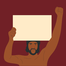 An African-American Man Holding A Placard. Protest Against Racism. Flat Vector Illustration.