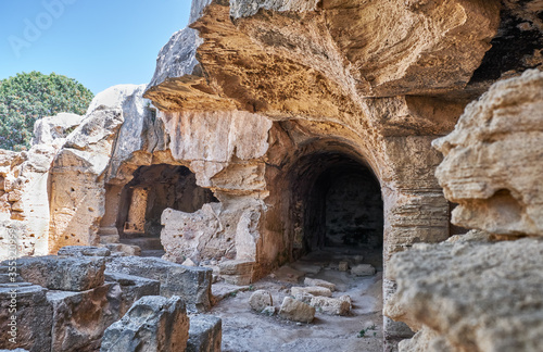 Photo St. Lambrianos catacomb. Paphos Archaeological Park. Cyprus