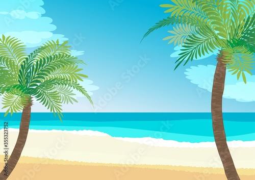 南国の浜辺、ヤシと海のイラスト Canvas Print